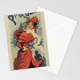 Vintage Paris Ice skating vertical banner ad Jules Cheret Stationery Cards