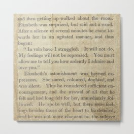 Pride and Prejudice  Vintage Mr. Darcy Proposal by Jane Austen   Metal Print