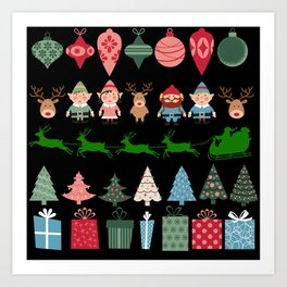 Christmas Elves & More Art Print