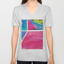180811 Watercolor Block Swatches 12| Colorful Abstract |Geometrical Art Unisex V-Neck