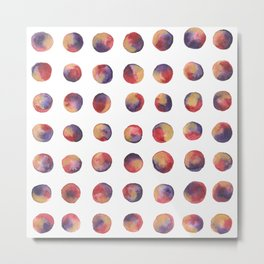 Polka Dots in Watercolor - Englisch Red, Violet & Gold Metal Print