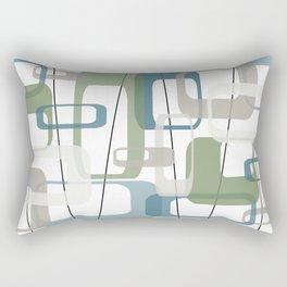 Minimalist Retro Mid Century in Modern Peacock Teal Blue Dill Garden Green and Gray Rectangular Pillow