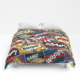 Modern Comic Book Superhero Pattern Color Colour Cartoon Lichtenstein Pop Art Comforters