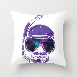 Psychedelic Snorkeling Skull Outer Space Goggles Cosmic Throw Pillow