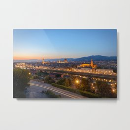 FLORENCE ITALY AT NIGHT CITY LIGHTS ITALIAN TOWN Metal Print