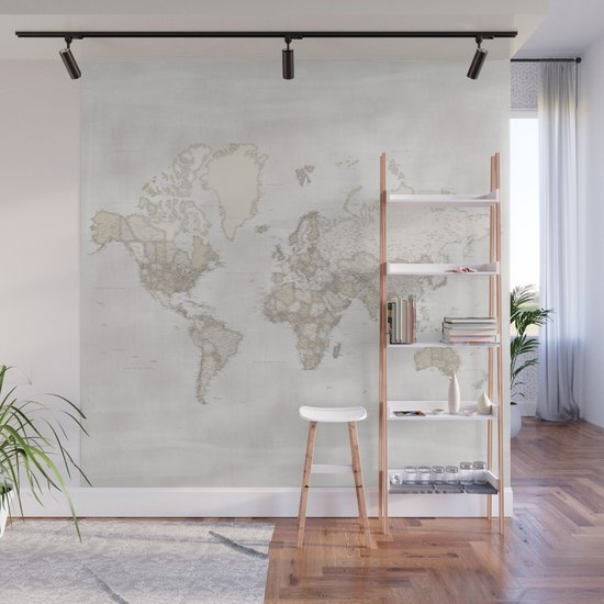 """Rustic and highly detailed world map with cities, square, """"Lucille"""" by blursbyaishop"""