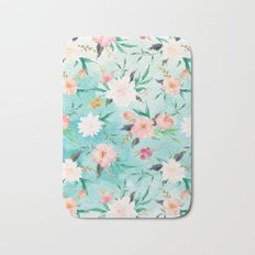 Turquoise Pink Watercolor Flower Pattern Bath Mat