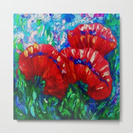 3 Poppies  Contemporary Wall Art by Lena Owens Metal Print