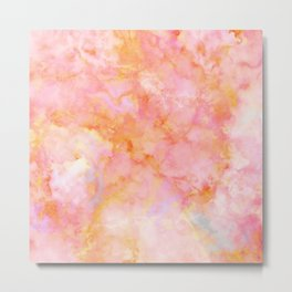 Rosé and Sunny Marble - pink, coral and orange Metal Print