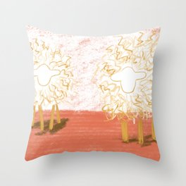 Shh sheep is golden Throw Pillow