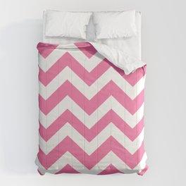 Cyclamen - pink color - Zigzag Chevron Pattern Comforters