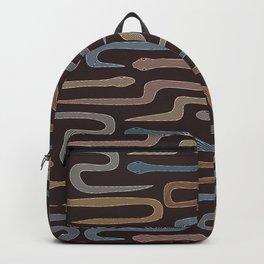 Striped Hand Drawn Cute Boho Rustic Minimalist Snakes Seamless Ornament Backpack