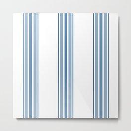 Farmhouse Blue Ticking Stripes on White Metal Print