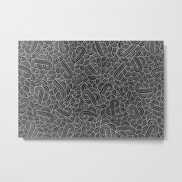 Black and faux silver swirls doodles Metal Print