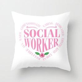 Social Worker Heart Graphic  Throw Pillow