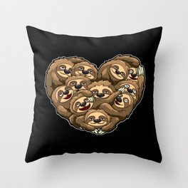 Heart Full Of Sloths - Laziness Lover Throw Pillow