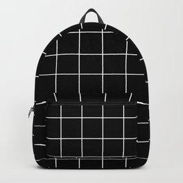 Grid Pattern Line Stripe Black and White Minimalist Geometric Stripes Lines Rucksack