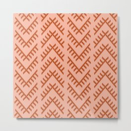 Stitched Arrows in Coral Metal Print