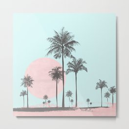 Beachfront palm tree soft pastel sunset graphic Metal Print
