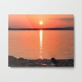 Long Sunset // Orange Yellow Sky Reflecting Off the Waves of the Water Metal Print