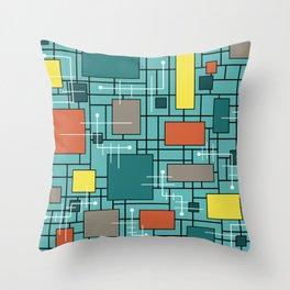 Atomic Era Abstract Lines Boxes Turquoise Throw Pillow