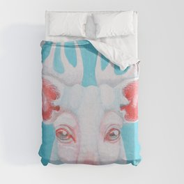 Portrait of a White Stag Duvet Cover