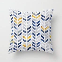Herringbone chevron pattern.Indigo faux gold acrylic canvas Throw Pillow