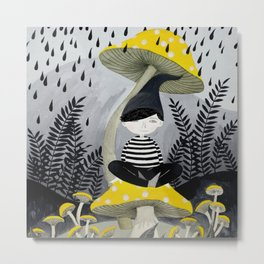 woodland mushrooms rain illustration Metal Print