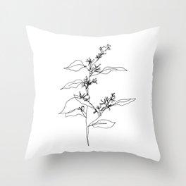 Seeded Eucalyptus — Minimal Botanical Line Drawing Throw Pillow