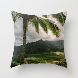 Hanalei Valley Lookout Kauai Hawaii | Tropical Island Nature Coastal Travel Photography Print Throw Pillow