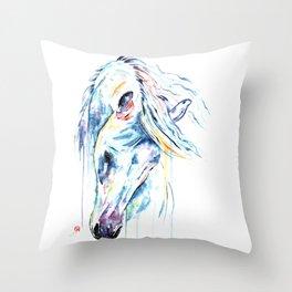 Arabian Horse Watercolor Throw Pillow