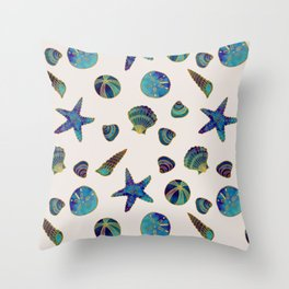 Beach Treasures - Aqua Throw Pillow