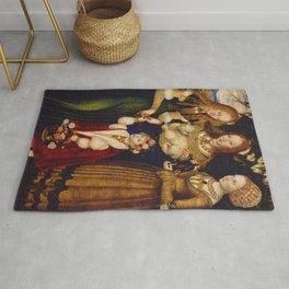 "Lucas Cranach the Elder ""Catherine altar, right wing Saints Dorothea, Agnes and Kunigunde"" Rug"