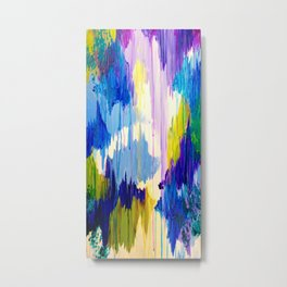 WINTER DREAMING - Jewel Tone Colorful Eggplant Plum Periwinkle Purple Chevron Ikat Abstract Painting Metal Print