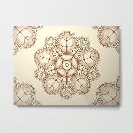 Beige elegant ornament fretwork Baroque style Metal Print