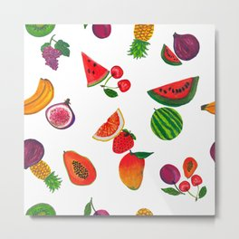 Hand drawn fruity summer time pattern white background Metal Print