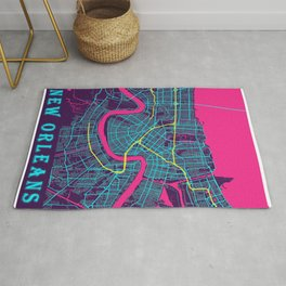 New Orleans Neon City Map, New Orleans Minimalist City Map Rug