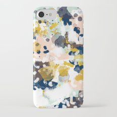 Sloane - Abstract painting in modern fresh colors navy, mint, blush, cream, white, and gold iPhone 7 Slim Case