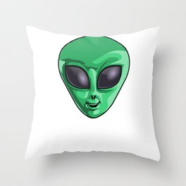 Come And Get Me Earthlings Green Funny UFO Extraterrestrial Space Throw Pillow