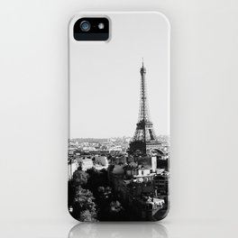 Paris City Sky // Eiffel Tower City Landscape Photography Shot from the top of Champs Elysees France iPhone Case