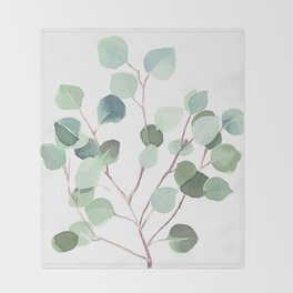 Eucalyptus Leaves Botanical Print Throw Blanket