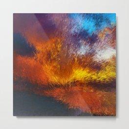 Eruption Pointillist Abstract Metal Print