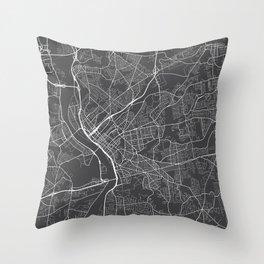 Springfield Map, USA - Gray Throw Pillow