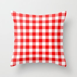 Jumbo Valentine Red Heart Rich Red and White Buffalo Check Plaid Throw Pillow