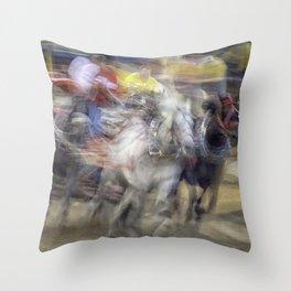 Chuckwagon races; Speed and Chaos Throw Pillow