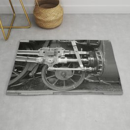 Old steam locomotive in the depot ZUG006CBx Le France black and white fine art photography by Ksavera Rug