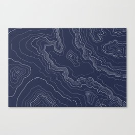 Navy topography map Canvas Print