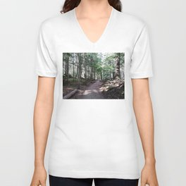 Dappled light and forest path Unisex V-Neck