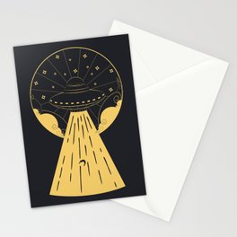Retro design of flying ufo ship and human silhouette Stationery Cards