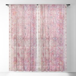 N45 - Pink Vintage Traditional Moroccan Boho & Farmhouse Style Artwork. Sheer Curtain